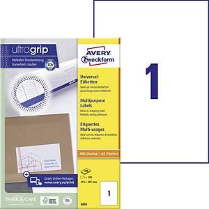 Etiketten Avery Zweckform 3478, 210 x 297mm, weiß, 100 Stück