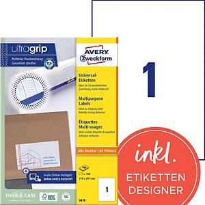 Etiketten Avery Zweckform ultragrip 3478, 210x297 mm, weiss, Pk. à 100 Stk.