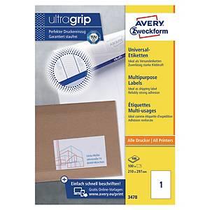 Étiquettes blanches multifonctions Avery 3478, 210 x 297 mm, la boîte de 100