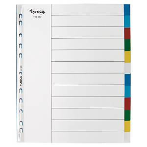 LYRECO POLYPROPYLENE ASSORTED EXTRA WIDE A4 12PART TABBED INDEX SUBJECT DIVIDERS