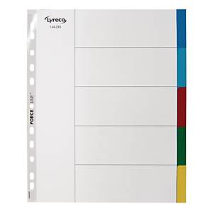 LYRECO POLYPROPYLENE ASSORTED EXTRA WIDE A4 5-PART TABBED INDEX SUBJECT DIVIDERS