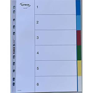 Lyreco neutrale tabbladen, A4, PP, 11-gaats, per 6 tabs