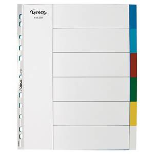 LYRECO POLYPROPYLENE ASSORTED EXTRA WIDE A4 6-PART TABBED INDEX SUBJECT DIVIDERS