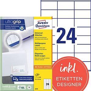 Étiquettes Avery Zweckform ultragrip 3475, 70x36 mm, blanc, paq. 2400unités