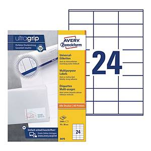 Avery 3475  Multi-Purpose Labels, 70 x 36 mm, Permanent, 24 Labels Per Sheet