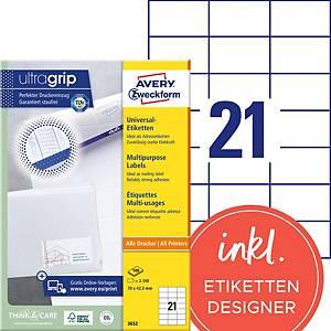 Étiquettes Avery Zweckform ultragrip 3652, 70x42,3 mm, blanc, paq. 2100unités