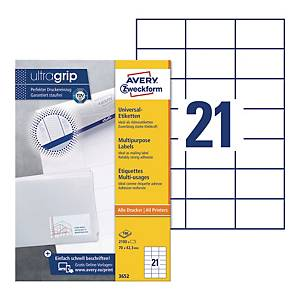 Avery 3652  Multi-Purpose Labels, 70 x 42.3 mm, Permanent, 21 Labels Per Sheet