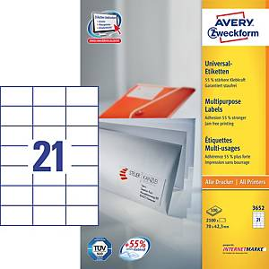 Univerzálne etikety Avery, 3652, 70 x 42,3 mm, 21 etikiet/balenie