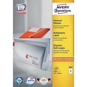 Étiquettes blanches multifonctions Avery 3665, 105 x 33,8 mm, la boîte de 1.600