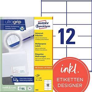 Étiquettes Avery Zweckform ultragrip 3424, 105x48 mm, blanc, paq. 1200unités