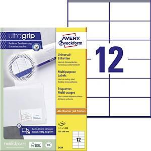 Univerzálne etikety Avery, 3424, 105 x 48 mm, 12 etikiet/hárok