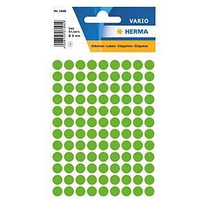 Vielzweck Etiketten HERMA 1848, 8 mm, rund, leuchtgrün, Packung à 540 Stück