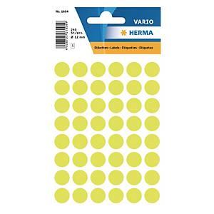 Etiquettes universelles Herma 1854, 12 mm jaune fluo, emballage de 240 pièces