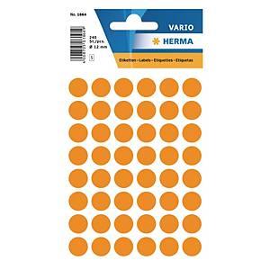 Etiquettes universelles Herma 1864, 12 mm orange fluo, emballage de 240 pièces
