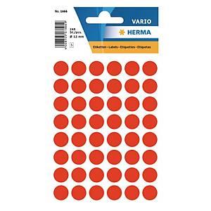 Vielzweck Etiketten HERMA 1866, 13 mm, rund, leuchtrot, Packung à 240 Stück