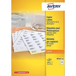Avery DP247 witte etiketten voor kopieermachines, 70 x 37 mm, doos van 2.400