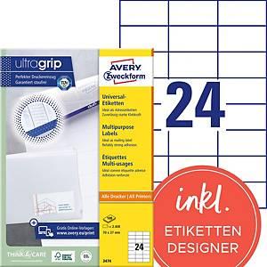 Etiketten Avery Zweckform ultragrip 3474, 70x37 mm, weiss, Pk. à 2400 Stk.