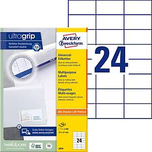 Étiquettes Avery Zweckform ultragrip 3474, 70x37 mm, blanc, paq. 2400unités