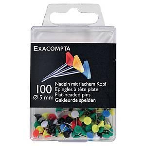 Punaise Exacompta tête plate - coloris assortis - boîte de 100