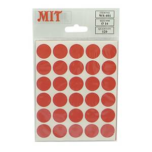 MIT Wafer Seal Label 16mm Red - Pack of 120