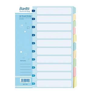 Bantex Manila A4 Cardboard Dividers 10 Tabs - Pack of 5