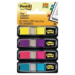 Post-it® Index 6834AB étroits, 4 couleurs, 12 x 43 mm, paquet de 4 distributeurs