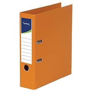 Lyreco ordners met hefboom, A4, PP, rug 80 mm, oranje, per ordner