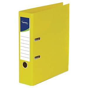 Lyreco ordners met hefboom, A4, PP, rug 80 mm, geel, per ordner