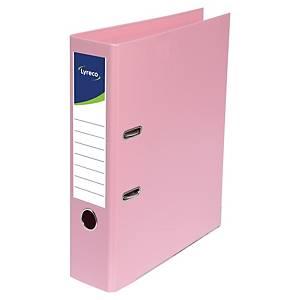 Lyreco ordners met hefboom, A4, PP, rug 80 mm, roze, per ordner