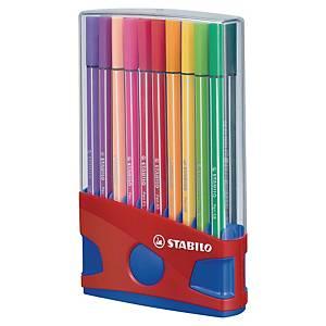 Stabilo 68 assorted colours fibre tip pens - box of 20