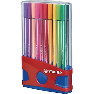 Feutres Stabilo® Pen 68, pointe moyenne, couleurs assorties, les 20 feutres