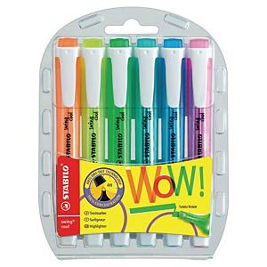 Stabilo® Swing Cool markeerstiften, assorti kleuren, etui van 6 tekstmarkers