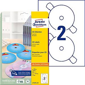 Etiketten Avery Zweckform L7676, CD/DVD, SuperSize, weiss, Pk. à 50 Stk.