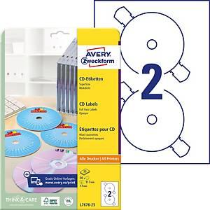 Étiquettes Avery Zweckform L7676, CD/DVD, SuperSize, blanc, paq. 50unit.