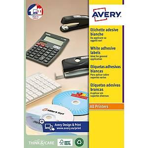 Caixa de 50 etiquetas para CD/DVD Avery L7676-25 - Ø 117mm - branco