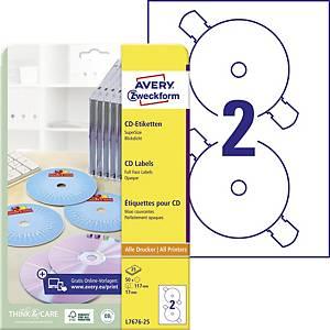 Etikety na CD Avery, L7676-25, 25 hárkov, 50 etikiet/balenie