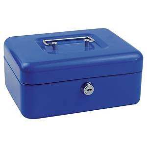 Geldkistje small, cilinderslot met sleutel, blauw