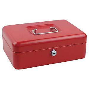 Geldkistje medium, cilinderslot met sleutel, rood