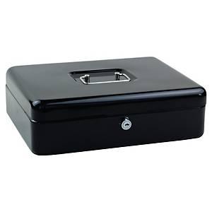 Caisse à monnaie large, serrure à cylindre avec clé, noir