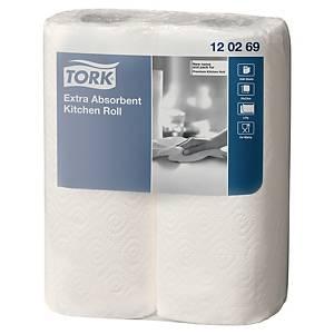 Tork Extra absorberende keukenrol, 64 vellen, 2-laags, wit, pak van 2 rollen