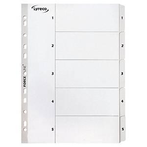 Register Lyreco, 1-5, A4, karton, hvid