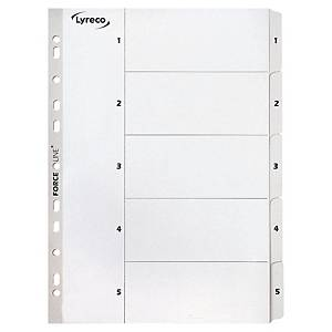 LYRECO MYLAR WHITE A4 1-5 NUMBERED TABBED INDEX SUBJECT DIVIDERS