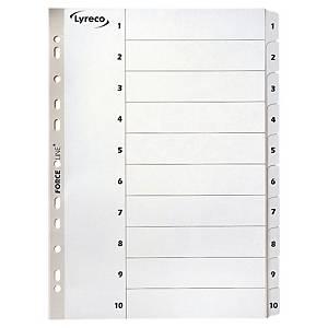 Répertoire Lyreco A4, carton 170 g/m2, 1-10, blanc