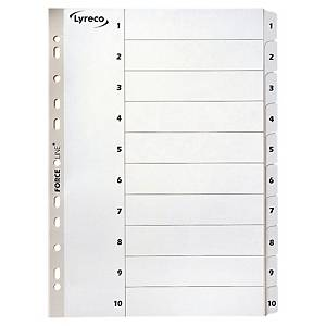 LYRECO MYLAR WHITE A4 1-10 NUMBERED TABBED INDEX SUBJECT DIVIDERS