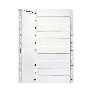 Lyreco Mylar A4 Tab File Dividers 1-10 Index - Pack of 1 Set White