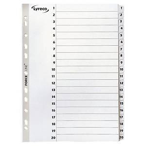 Register Lyreco, 1-20, A4, karton, hvid