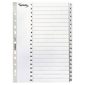 Przekładki kartonowe LYRECO z laminowanymi indeksami A4 numeryczne 1-20 białe