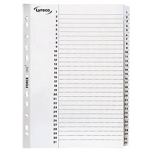 Przekładki kartonowe LYRECO z laminowanymi indeksami A4 numeryczne 1-31