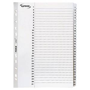 LYRECO MYLAR WHITE A4 1-31 NUMBERED TABBED INDEX SUBJECT DIVIDERS