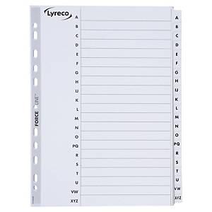 Przekładki kartonowe LYRECO z laminowanymi indeksami A4 alfabetyczne A-Z białe